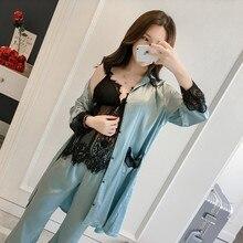 Женский сексуальный Шелковый Атласный пижамный комплект, пижама с кружевами, комплект из 3 предметов, пижама с v-образным вырезом, комплект осенней весенней одежды для сна, модная домашняя одежда для женщин