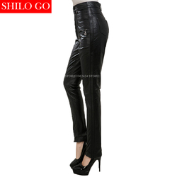 Plus size new fashion women high quality Empire waist office formal OL Zipper black was thin genuine leather pants XXXL