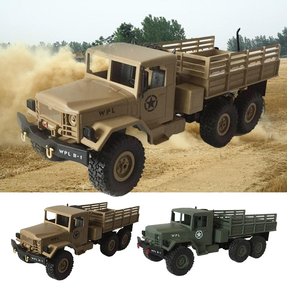 WPL 1/16 RC Car Toys 6WD Off Road Vehicle With Wireless Radio Control Military Remote Control Car ArmyGreen Car Model Toy 1 16 wpl 6wd crawler military trunk b 16 crawler remote control car model toy