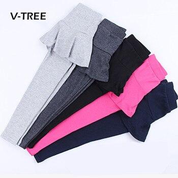 V-TREE Kız Tozluk Giyim Pamuk Şeker Renk Pantolon Etek Kız Çocuklar Için Genç Pantolon Pantolon Çocuk Giysileri 3-10 yıl