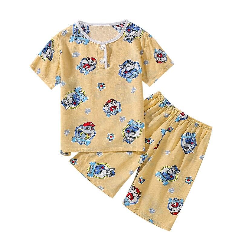 Летние пижамы костюм детские пижамы для девочек и мальчиков Пижама комплект Дети пижамы короткий рукав мультфильм хлопок ночное 2 шт. домаш...