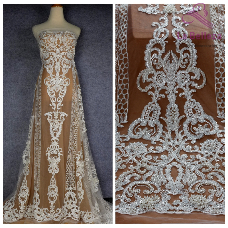 La Belleza  New ivory heavy handmade beaded wedding dress lace fabric 51'' width FHZG130WT-in Lace from Home & Garden    1