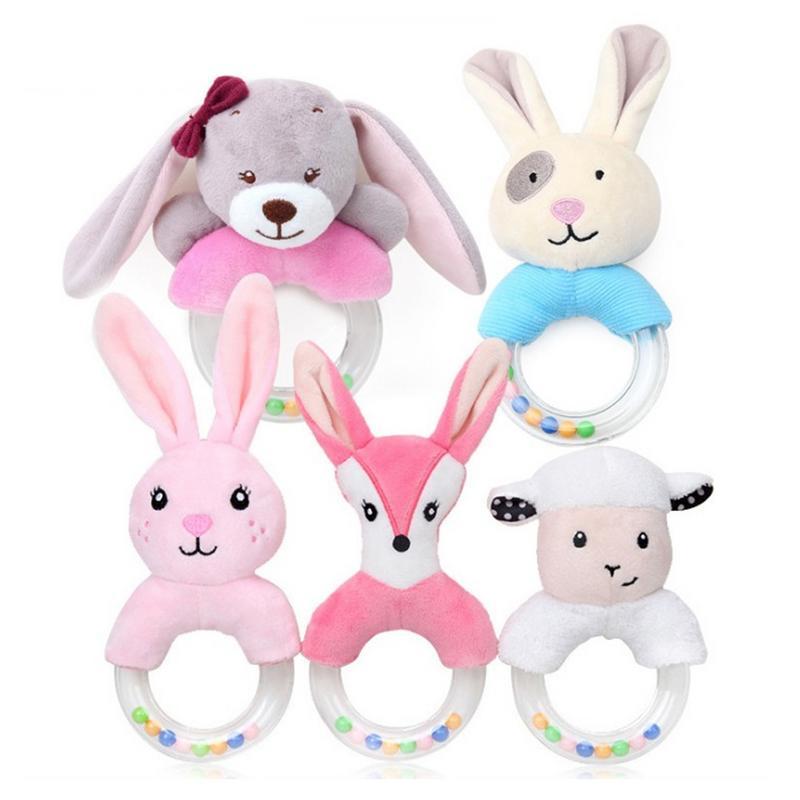 Baby Rattle Cartoon Rabbit Plush Rattle Ring Bell Newborn Hand Grasp Toy Soft Mobile Infant Crib Dolls Peluche Hochet Brinquedos