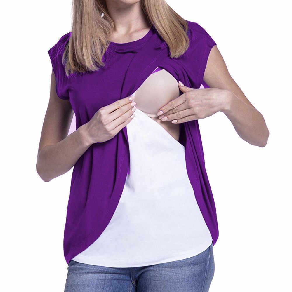 ملابس حمل للنساء الحوامل 2019 بلوزة لف أكمام طبقة مزدوجة قميص الحمل الرضاعة الطبيعية ملابس Enfermeria Hamile
