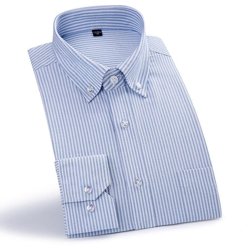 100% Cotton Men's Oxford Striped Shirts Formal Business Social Shirts Classic Design Men Brand Casual Dress Shirts