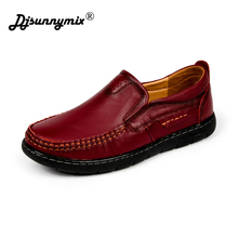 DJSUNNYMIX Brand Woman handmade shoes 100% genuine leather shoes casual shoes soft cowhide female flats