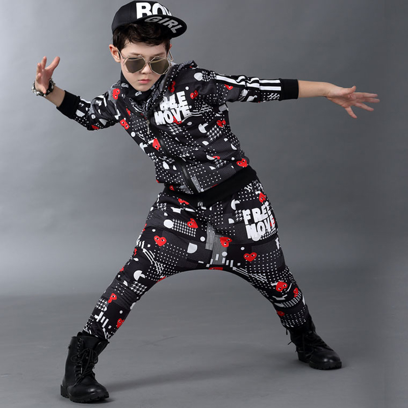 цена  Jazz dance boys clothes kids hip hop clothing Kids Suit personality hooded Long Shirt + Pants Sweatshirt Casual Clothes 5-14Y  онлайн в 2017 году