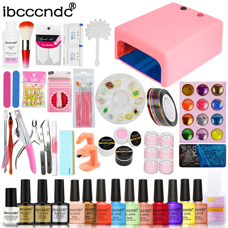 Nail Art Set 36W UV Lamp + 10 Color 10ml Nail Polish Base and Top Flower UV Gel with Glitters Decals Manicure Tools Kit Nail Art цена
