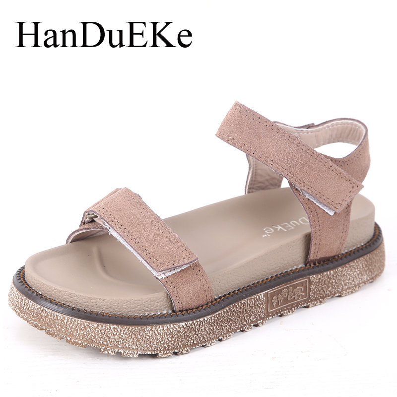 HanDuEKe Summer Shoes Woman Casual Fashion Cow Suede Women Gladiator Sandals Wedges Platform Shoes Ladies Beach Shoes women sandals 2017 summer style shoes woman wedges height increasing smile fashion gladiator platform female ladies shoes casual