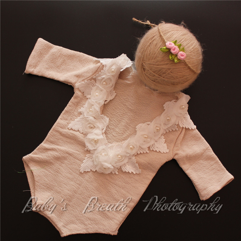 Newborn Romper Photo Prop SET with Headband Newborn Baby Set Newpborn Prop Photoprops Romper Headband baby pom pom hem swan print romper with headband