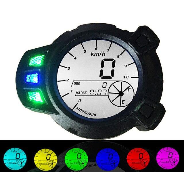 Motorcycle 7 colors speed meter speedometer instrument odometer BWS Motor vehicle LCD display Free shipping