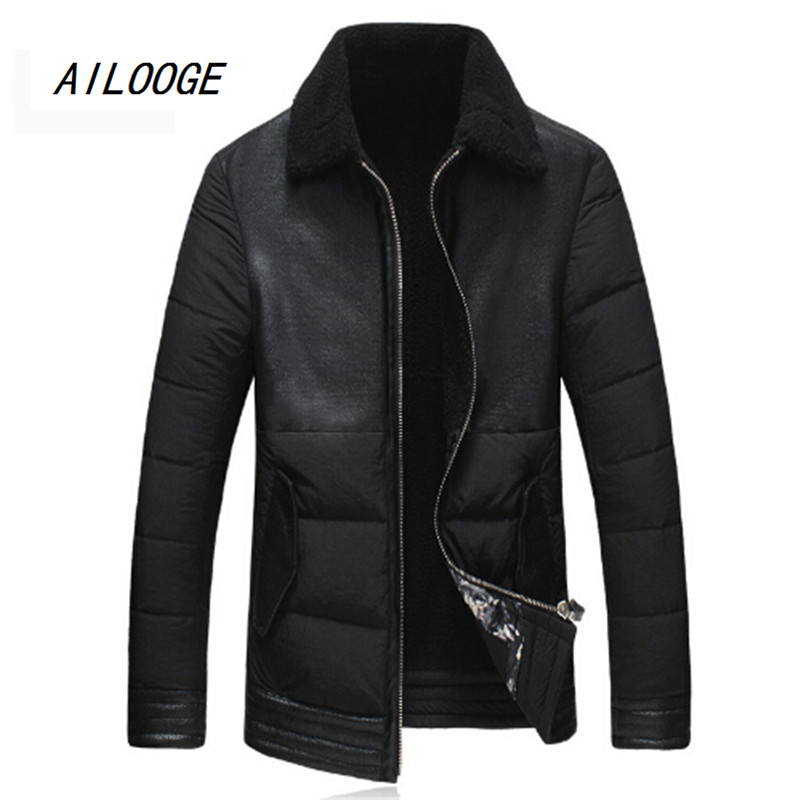 2016 winter high-quality fur one 90% white duck down jacket men s jacket fashion lapel zipper brand coat black khaki