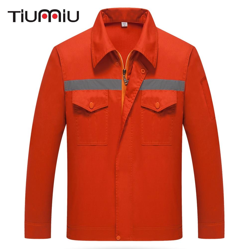 New Orange Workshop Wear Clothes With Resflectors Unisex Summer Long Sleeve Engineering Uniforms Patchwork Security Jacket Pants