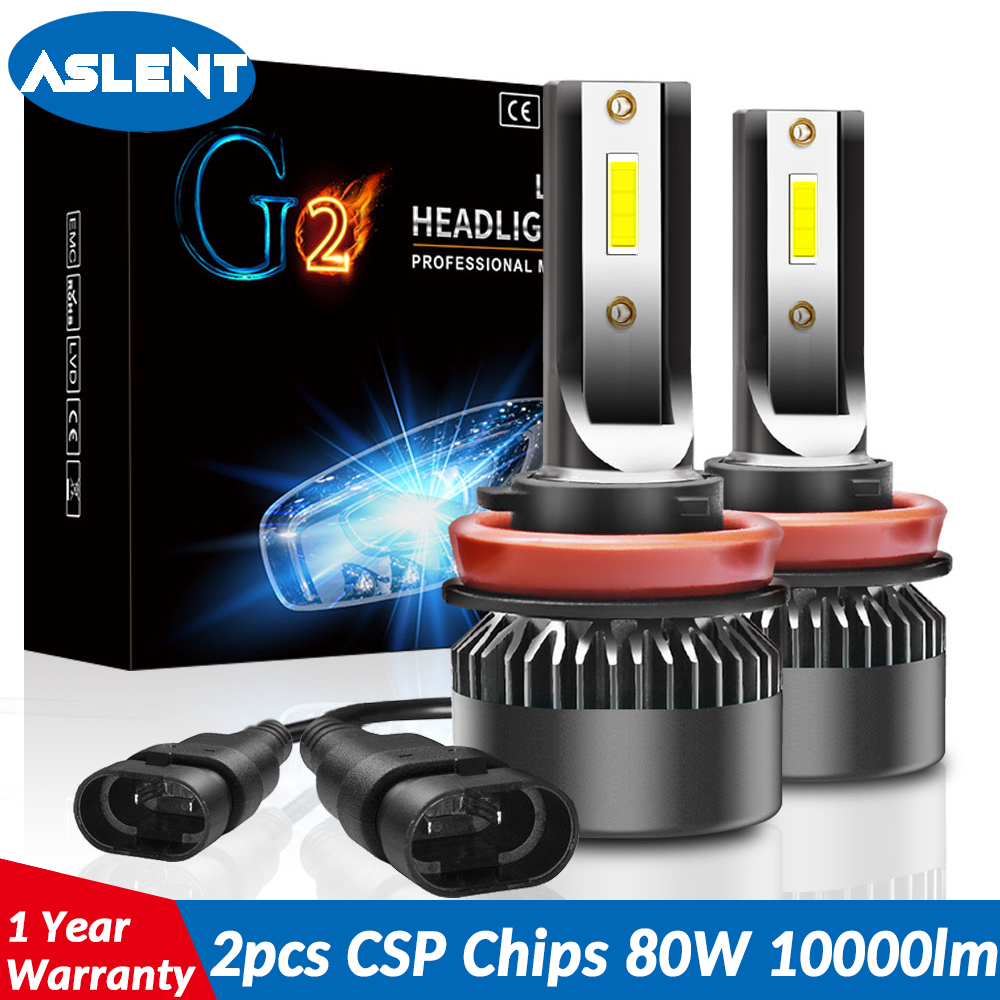 ASLENT 2PCS Mini Auto Bulbs LED H7 H4 H11 H1 H8 H9 9005 HB3 9006 HB4 9012  LED Lamp Car Headlights Fog Lights 80W 10000LM 12V 24V