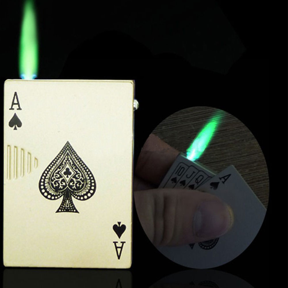 2017 new poker style windproof torch uv money detector cigar cigarette butane gas lighter without fuel