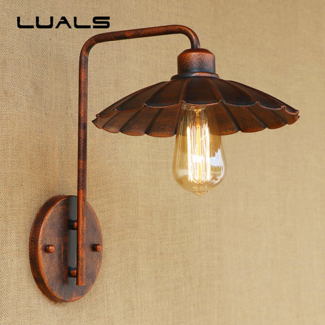 American Style Vintage Wall Lights Creative Iron Simple Rusty Color ...