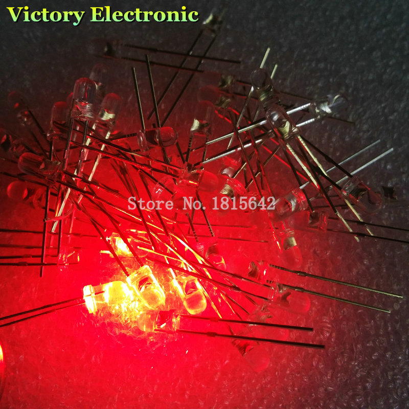 Independent 200pcs/lot 3mm Round Red Led Diode Super Bright Water Clear Led Light Lamp Red Color New Diodes