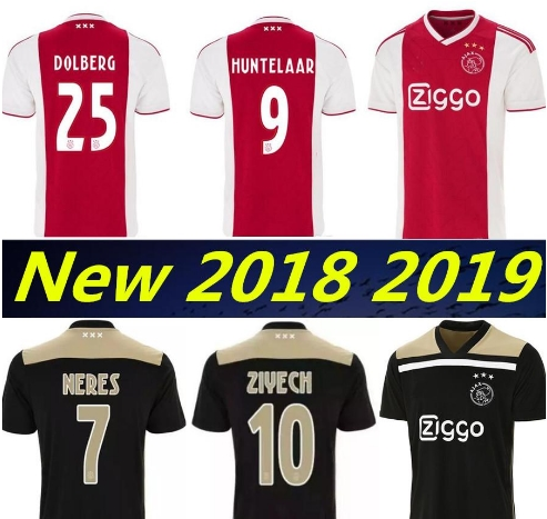 3650cafdc Top thailand 2018 2019 AJAX FC soccer jersey DOLBERG HUNTELAAR ZIYECH TADIC  BLIND CRUYFF jerseys 18 19 football kit shirt Nethe
