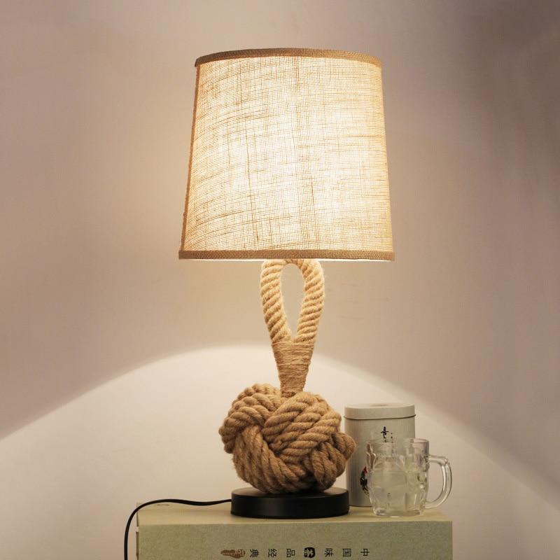 American table lamp retro rope cloth loft art bedside lamp bedroom study office cafe hotel restaurant bar light E27 desk light