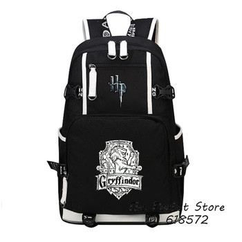 High Quality Harry Potter Gryffindor/Hufflepuff/Ravenklauw/Slytherin Hogwarts School Women Printing Backpack Canvas School Bags 1