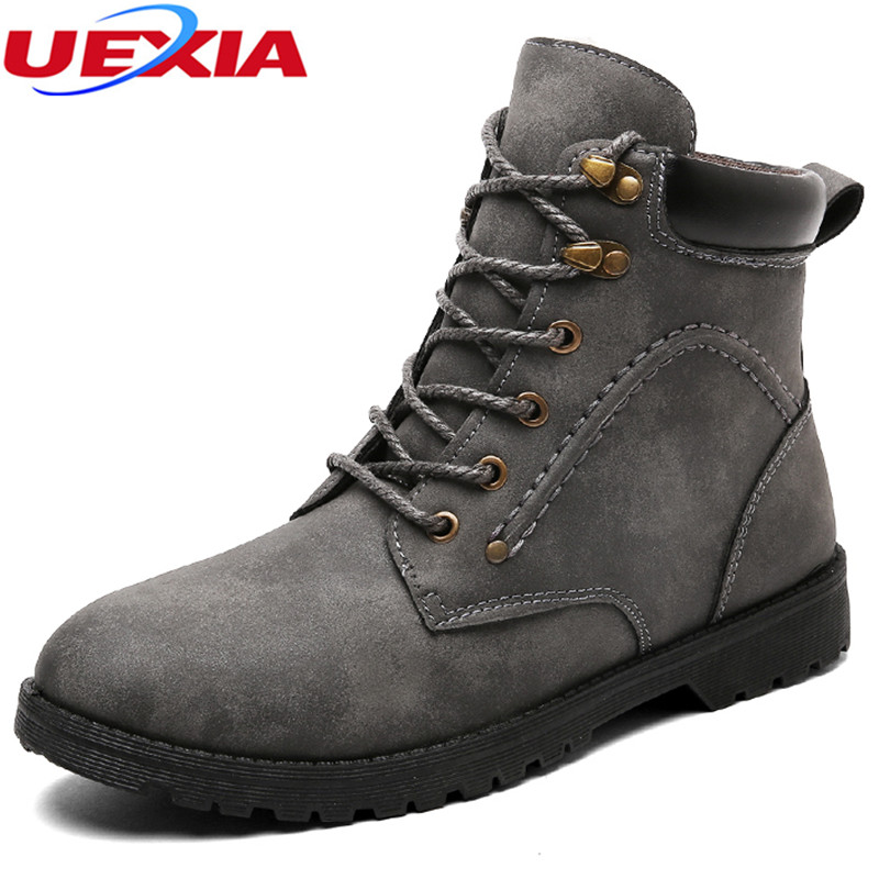UEXIA New High Quality Winter Men PU Leather Round Toe Shoe Male Fashion Warm Ankle Men Outdoor Snow Boots Workman Martin Casual 2016 new arrival men winter martin ankle boots pu leather high quality fashion high top shoes snow timbe bota hot sale flat heel