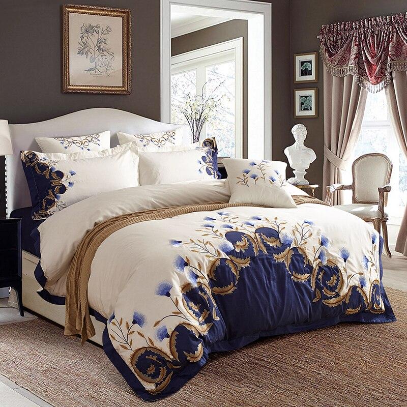Ev ve Bahçe'ten Yatak Takımları'de Beyaz Mavi Işlemeli Lüks nevresim takımı 60 S Mısır Pamuk Çift Kral kraliçe yatak çarşafı seti nevresim Yastık Kılıfı'da  Grup 2