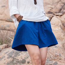 Women summer  shorts 2016 Summer Linen Cotton Original Loose Mori girl Solid color Elastic Waist Mid Brief Casual
