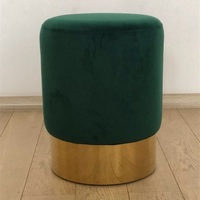 High quality Ottoman Simple design barrel stool pouf+soft cushions+Stainless steel base makeup for shoes round stool/floor chair