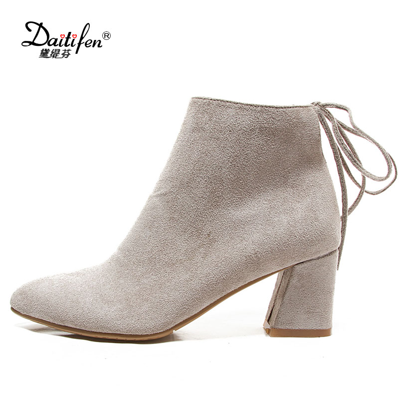 Daitifen 2017 Pointed Toe Lace Up ankle boots for women high heel boots Ladies spring Short Faux Suede Zipper Ankle boots pointed toe high heel ankle women boots oxfords with lace