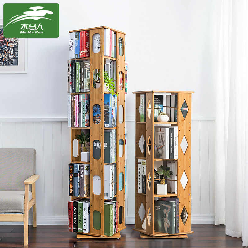 360 Spinning Bamboo Bookshelf Adjustable Height Creative Multi-Tier Display Rack for Books   Magazines CDs Photo Albums