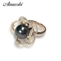 Кольцо AINUOSHI из стерлингового серебра 925 пробы, желтое золото, в форме цветка, обручальное кольцо, натуральное, Tahiti, черное, Peal, 10,5 мм, круглое ж