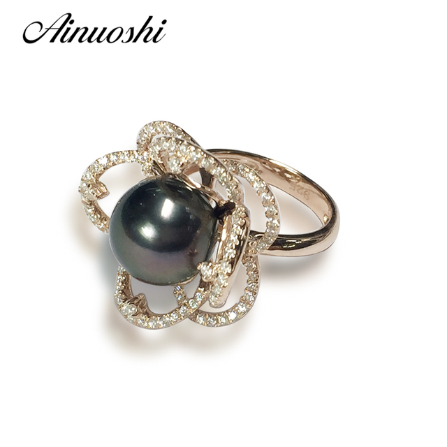 ainuoshi 925 sterling silver yellow gold color flower shaped wedding ring natural tahiti black peal 105 - Rose Shaped Wedding Ring