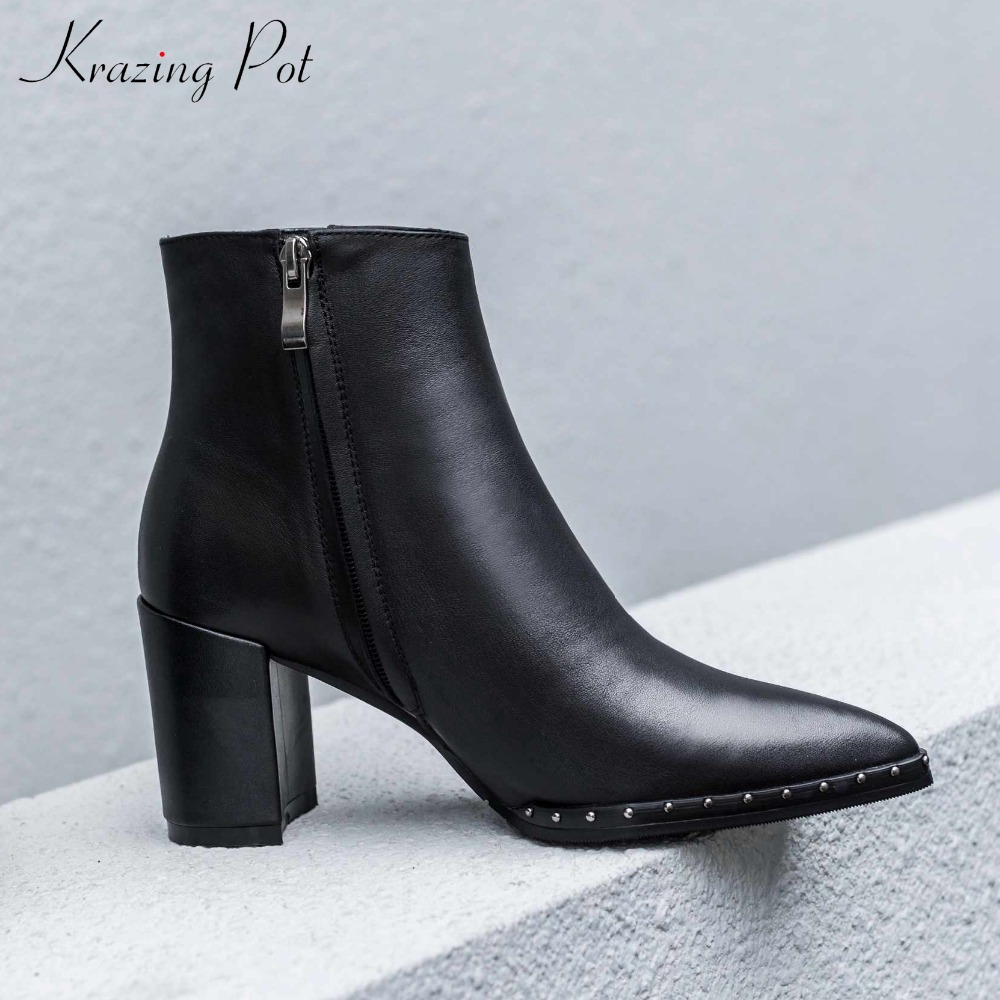 krazing pot new arrival genuine leather pointed toe basic boots European concise simple streetwear string bead ankle boots L88 bead simple