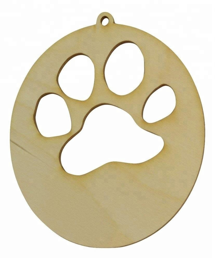 Us 19 5 Wooden Dog Paw Laser Cut Wood Christmas Ornament Wood Ornament Christmas In Pendant Drop Ornaments From Home Garden On Aliexpress Com