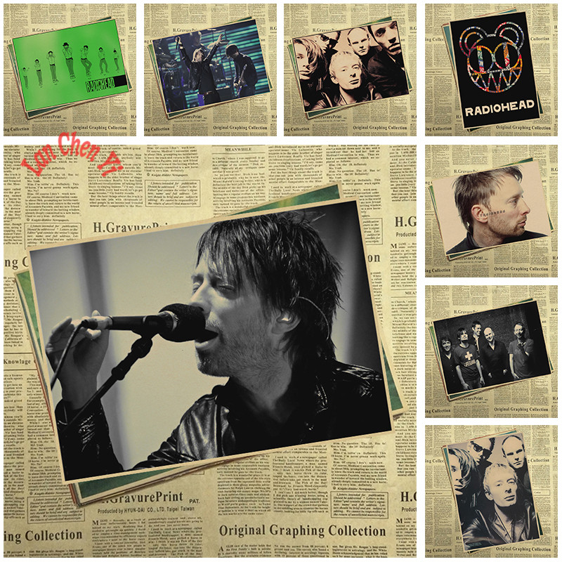 Radiohead Band Classic Nostalgic Matte Kraft Paper Poster Office Gift Room Dining Home Decor wall sticker Design
