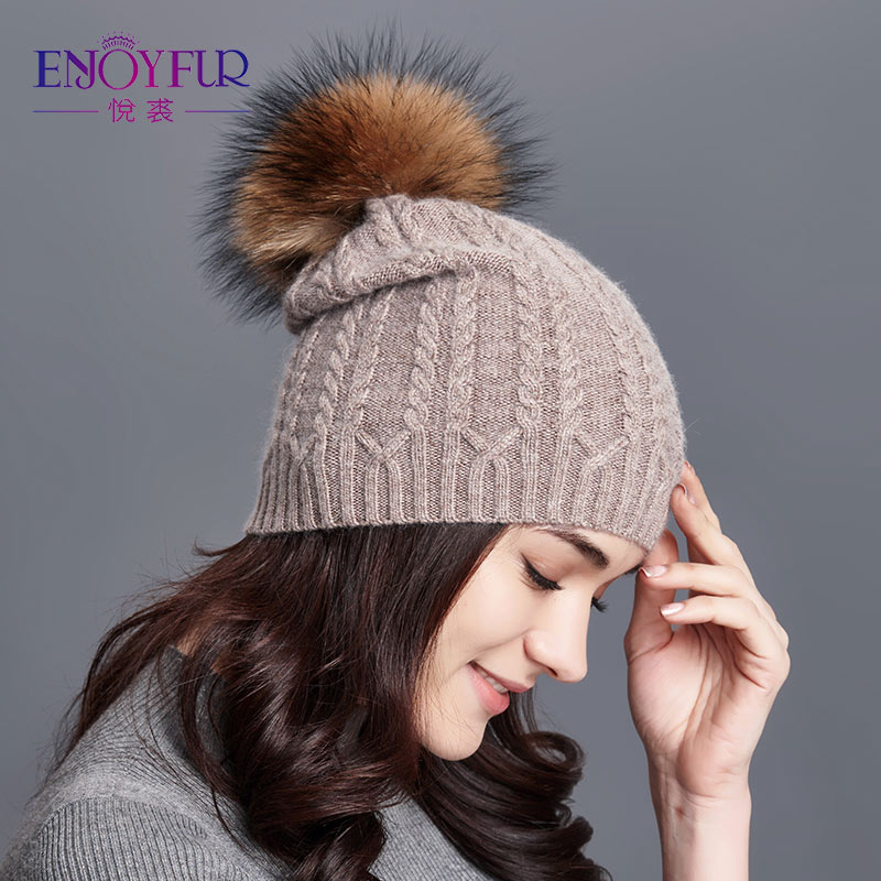 ENJOYFUR Winter Hats For Women Twist-type Cashmere Knitted Hat Female   Beanies   Girl gorro Fashion 2018 Thick Warm Pompom Caps