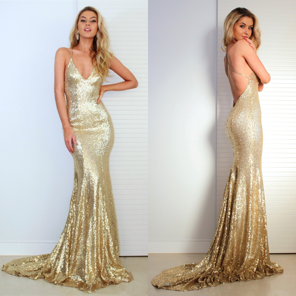 Gold Sequins Mermaid   Prom     Dresses   2019 vestidos de fiesta largos elegantes de gala V Neck Imported Party   Dress   Formal Gowns