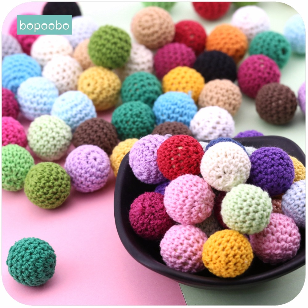 Bopoobo 20mm 10pcs Wooden Crochet Beads Chewable Beads DIY Wooden Teething Knitting Beads Jewelry Crib Sensory Toy Baby Teether(China)