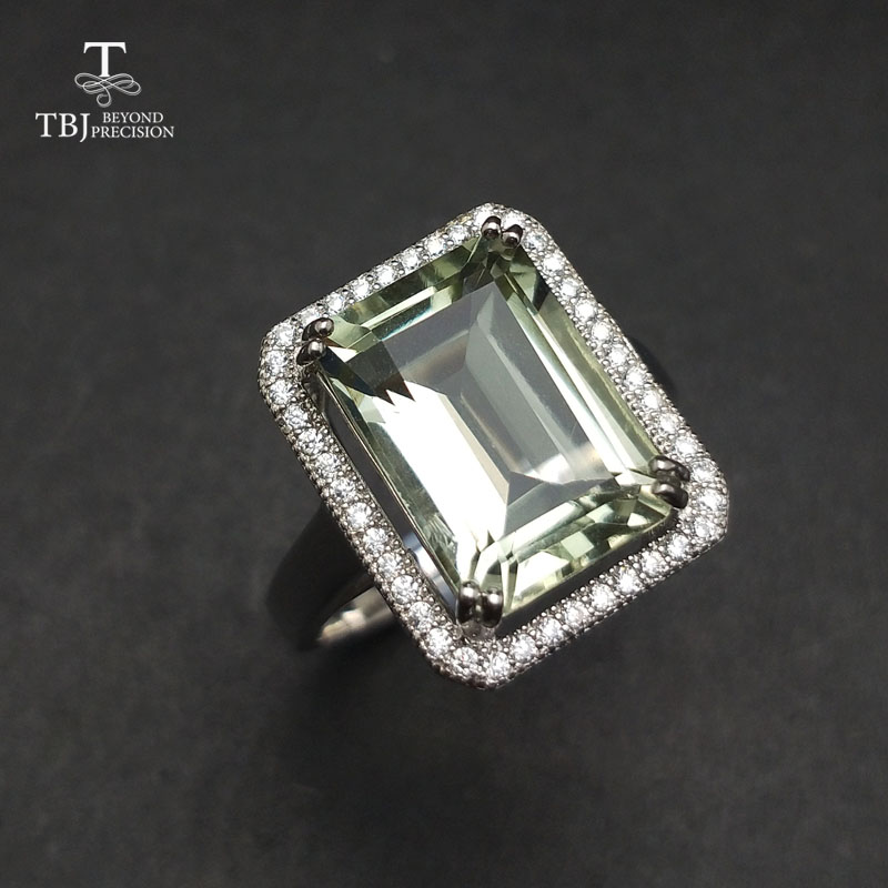TBJ natural green amethyst 7 5ct gemstone Ring in 925 sterling silver jewelry for women as