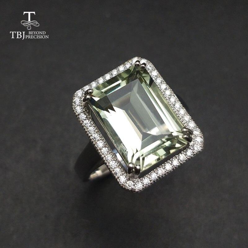 TBJ, améthyste verte naturelle 7.5ct bague en pierres précieuses en 925 bijoux en argent sterling pour les femmes comme cadeau d'anniversaire saint valentin
