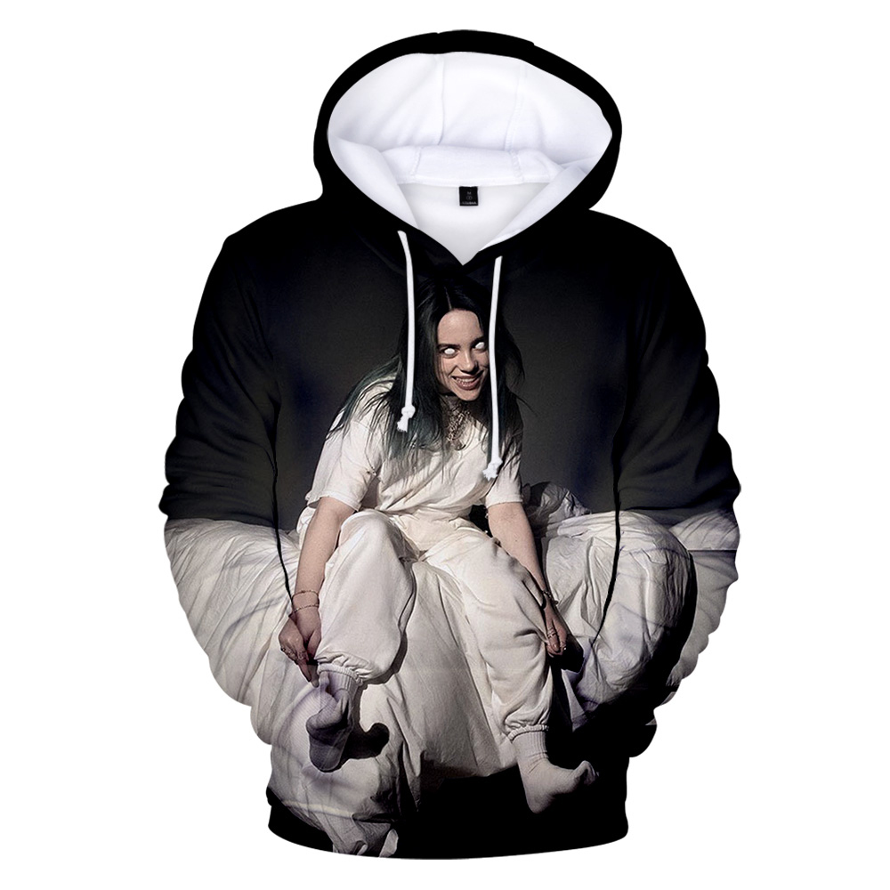 Singer Billie Eilish 3D Hoodies Sweatshirts Women Men Hoodies 3D Print Character Idol Billie Eilish Hoodies Winter Sweatshirts