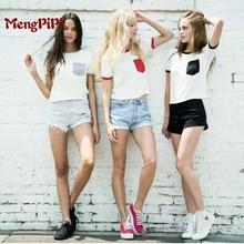 Mengpipi Fashion 2016 Patchwork Pocket Crop Top t-shirts Harajuku Casual Short-sleeved Camis shirt maglia donna femme sm