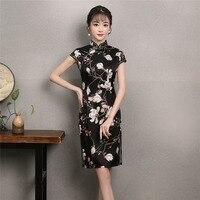 Shanghai Histoire Faux Soie Genou Longueur Cheongsams Fleur Imprimer Noir Qipao Chinois Robe Traditionnelle tendance nationale oriental robe