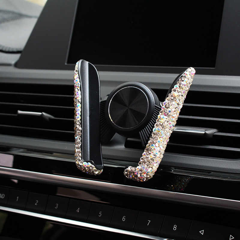 Dual USB cargador de coche Bling hecho a mano strass cristal teléfono soporte 3 en 1 Cable cargador accesorios de decoración de coche