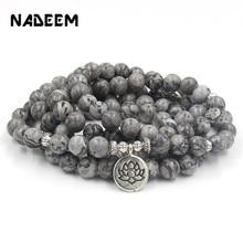 New 8mm Marble Stone Yogi Bracelet Necklace 108 Prayer Beads Lotus Ohm Buddha Charm Wrist Man Women Mala