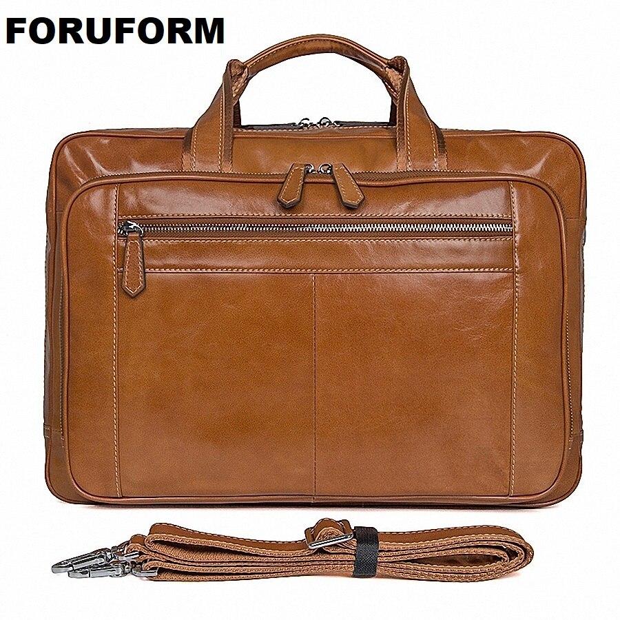Large Capacity Handbag Genuine Leather Briefcase Men Messenger Bags Cowhide 15.6