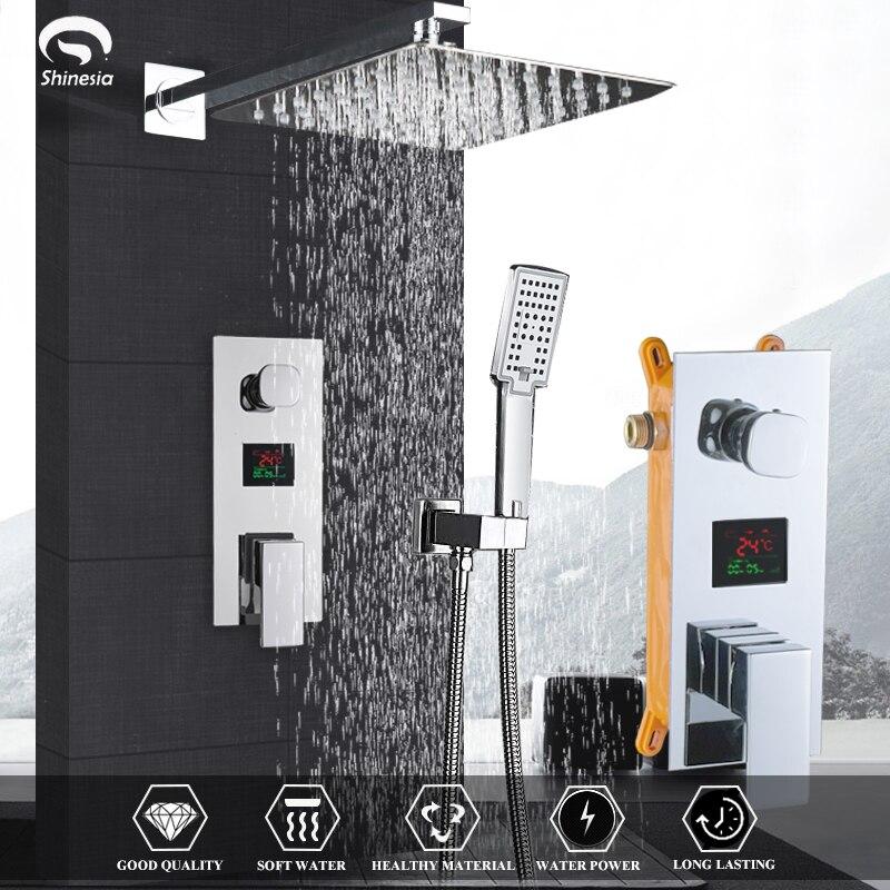 Bathroom Faucet Chrome Polish Digital Display Rain Shower Bath Faucet Wall Mount Bathtub Shower Mixer Tap