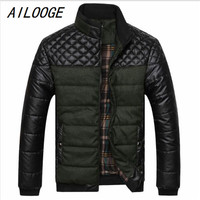 AILOOGE 2017 New Classic Brand Men Fashion Warm Jackets Plus Size L 4XL Patchwork Plaid Design Young Man Casaul Winter Coats