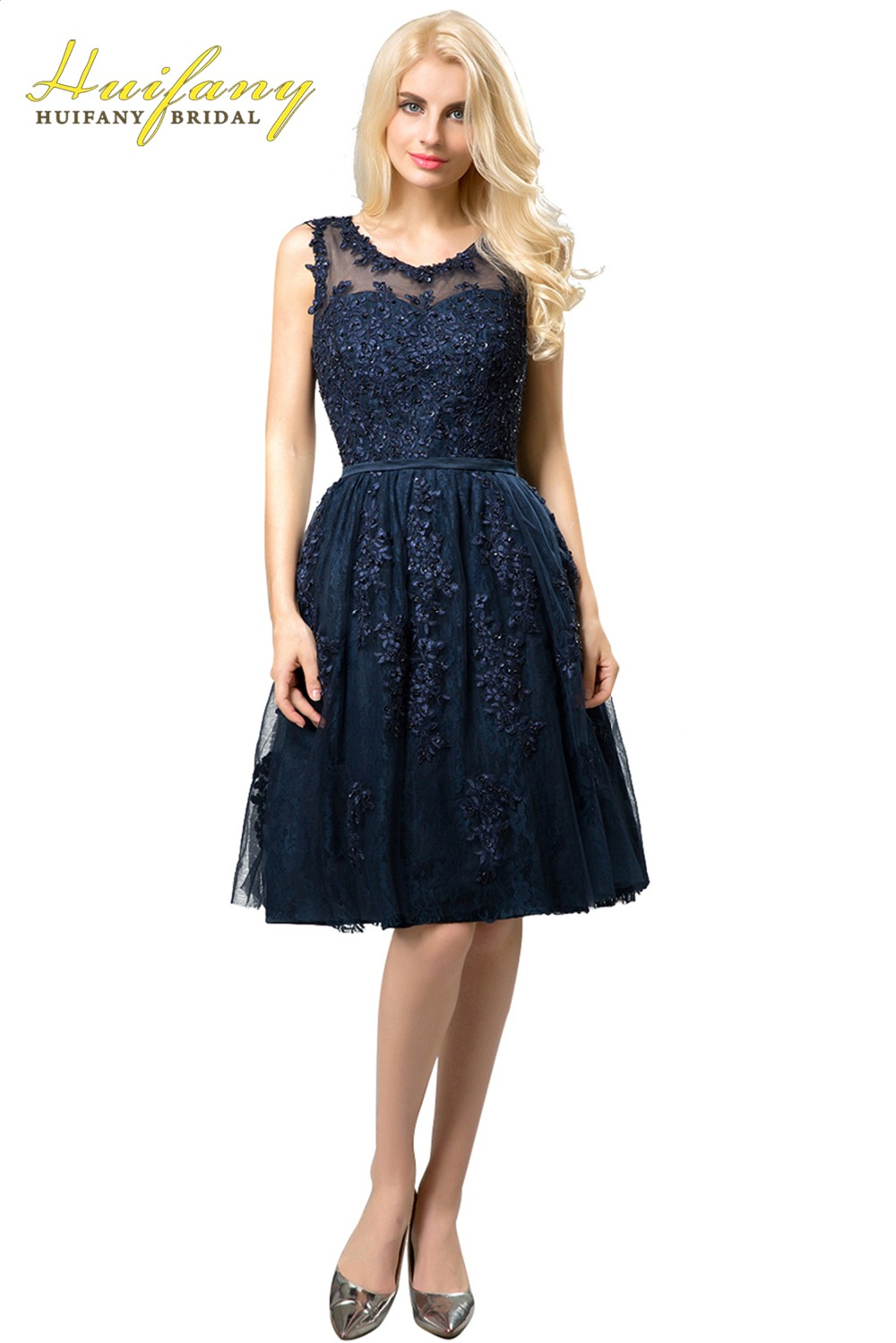 2017 Real Short Bridesmaid Dresses Navy Blue Lace Appliques Sheer ...