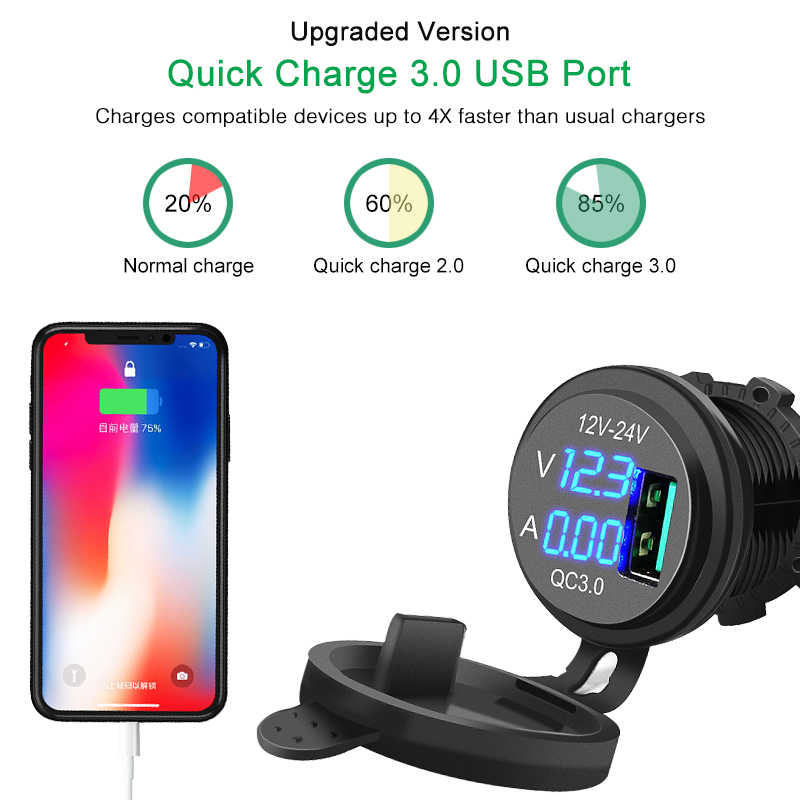 QC 3.0 USB Charger Socket Outlet Power Charger Blue LED Digital Display Universal 5V 3A for Car Boat Motorcycle Car Accessories